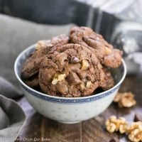 Chocolate Toffee Cookies - Rich, chewy brownie cookies filled with chunks of toffee and walnuts