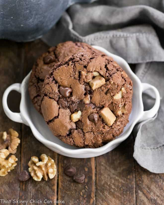 Chocolate Toffee Cookies in a small white terrine