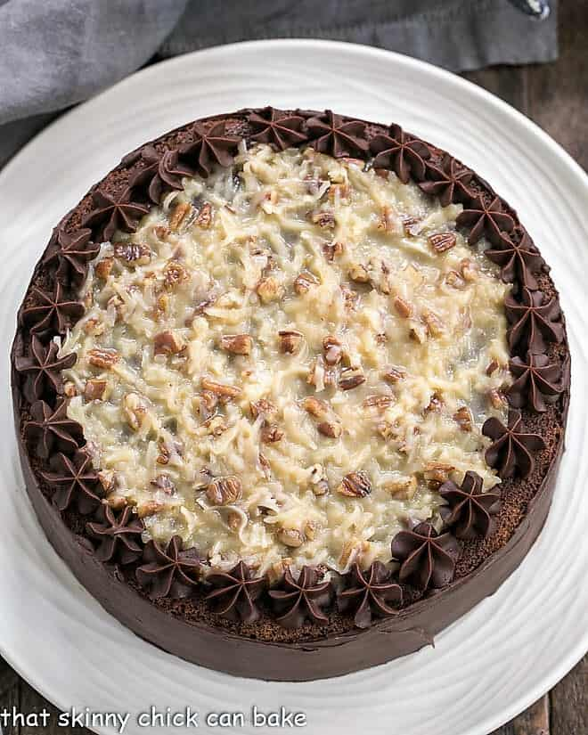 Overhead view of Classic German Chocolate Cake