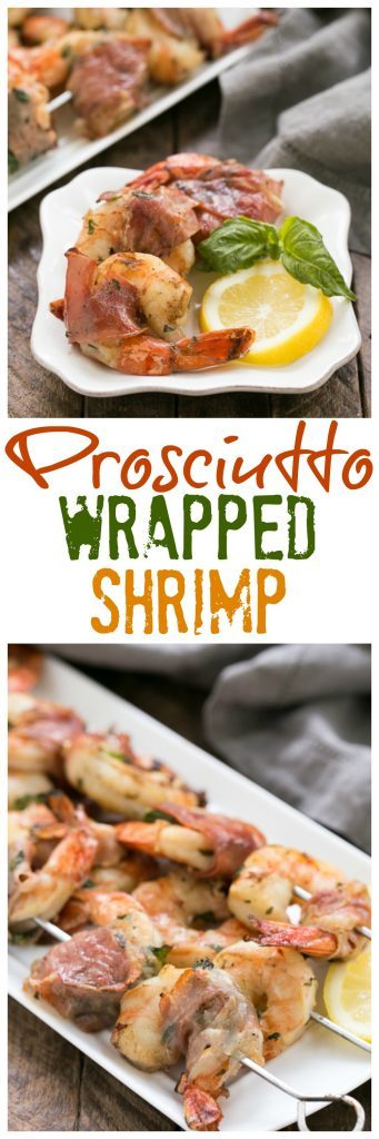Prosciutto Wrapped Shrimp with Basil Lemon Marinade | The BEST grilled shrimp recipe you'll ever taste!