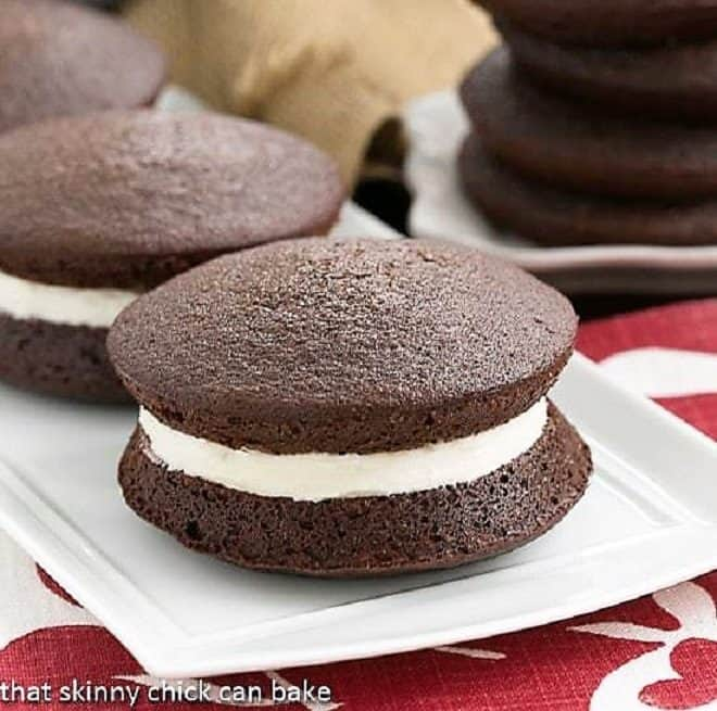 Classic Whoopie Pies  on a white ceramic serving tray