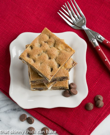 Overhead view of a stack of Chippy Bars AKA - Chocolate Chip Cookie Bars