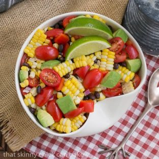 Corn and Black Bean Salad | Fresh sweet corn, black beans and avocados create the foundation for this delightful salad