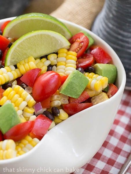 Corn and Black Bean Salad in a wavy white bowl