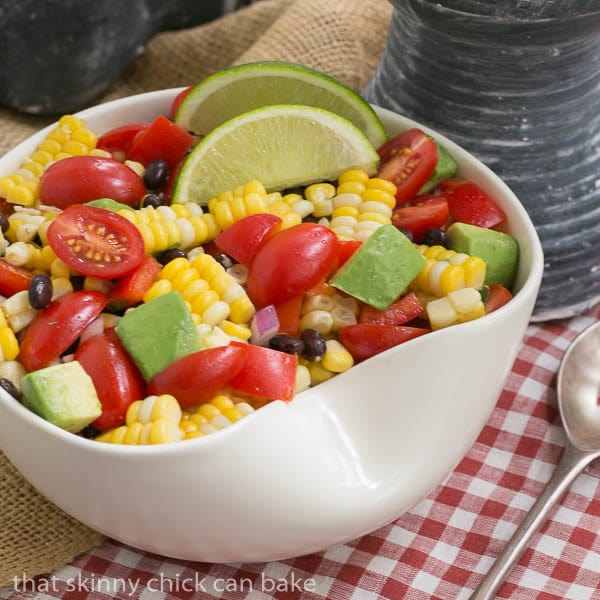 Fresh Corn and Black Bean Salad in a white serving bowl