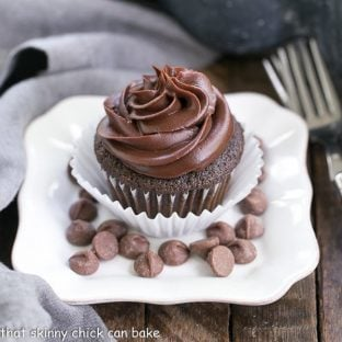 Ghirardelli Dark Chocolate Cupcakes | Sublime Cocoa cupcakes with a chocolate ganache frosting!