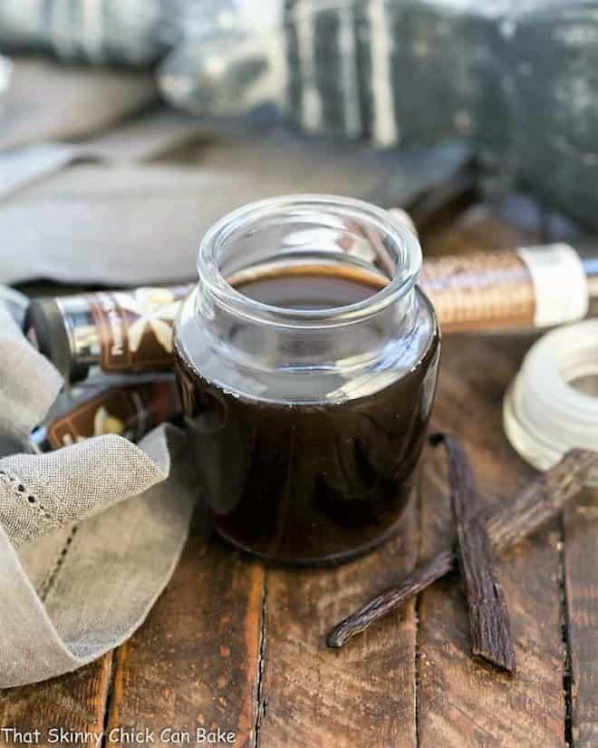 Homemade Vanilla Extract in an open jar
