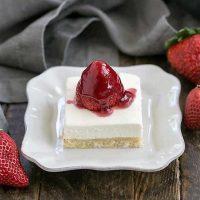 Slice of Strawberry Pie Dessert on a square white dessert plate