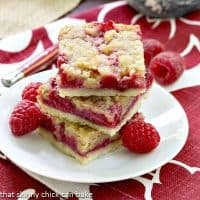 Raspberry Bars   Berry fillled, struesel topped raspberry squares
