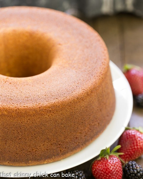 The Best Pound Cake on a white cake plate
