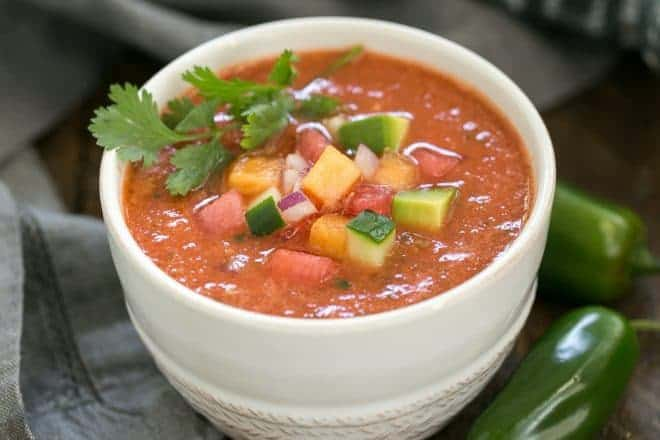 Wazpacho AKA watermelon gazpacho - A cold refreshing summer soup with tomatoes and watermelon!