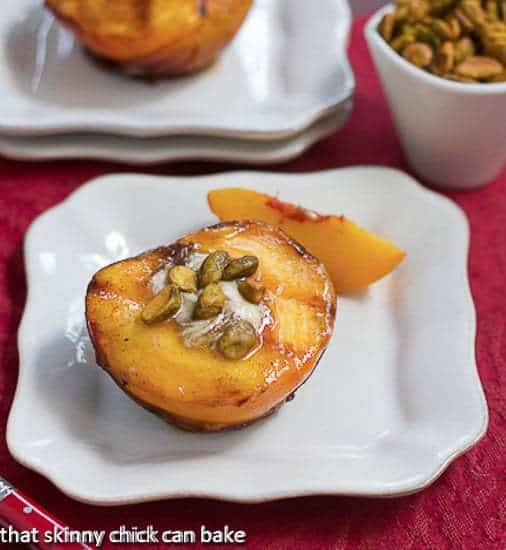 Grilled Peaches with White Chocolate