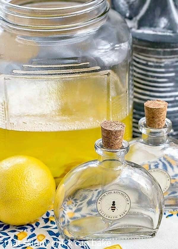Homemade Limoncello Liqueur steeping in a large jar