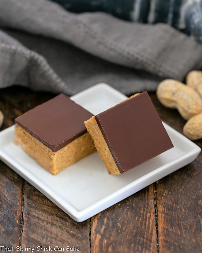 Two Better Than Reese's Peanut Butter Bars on a square white plate