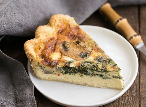 Spinach Mushroom Quiche | A rich, tender quiche full of cheese and vegetables