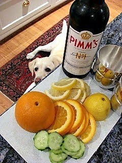 Pimm's Cup ingredients on the kitchen counter