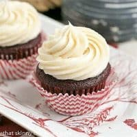 Red Velvet Cupcakes on a Juliska red and white tray