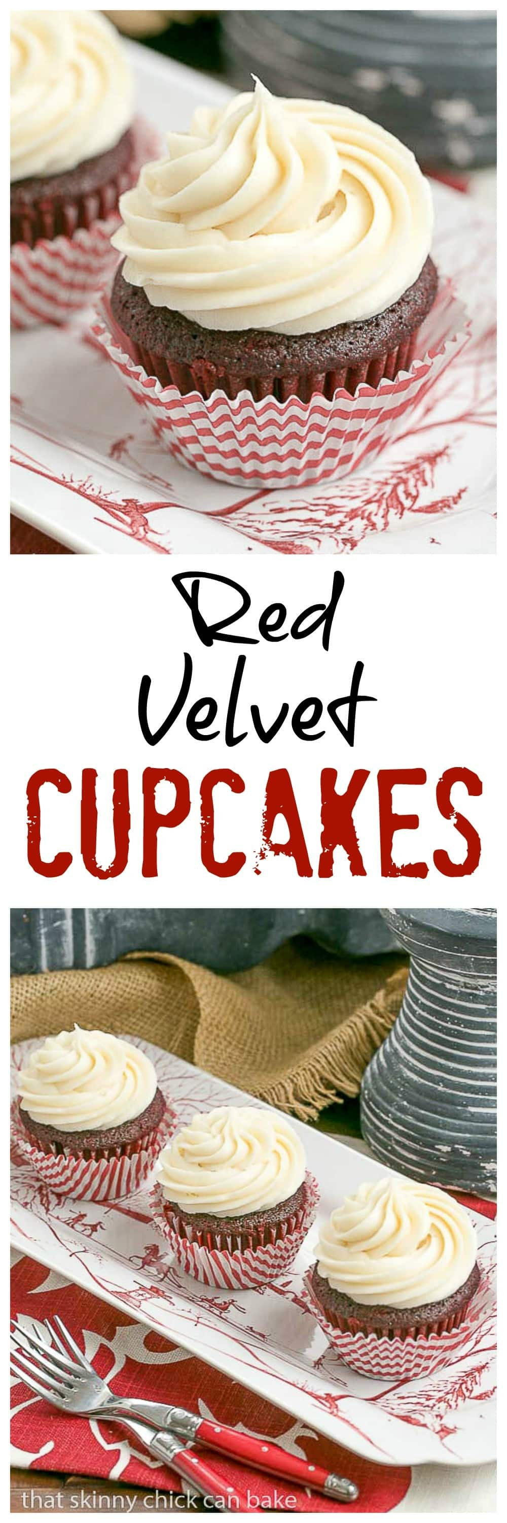 Red Velvet Cupcakes - The quintessential red velvet cupcakes made with buttermilk and a splash of of vinegar with a to die for cream cheese icing! #redvelvet #cupcakerecipe #creamcheesefrosting #redvelvetcupcakes