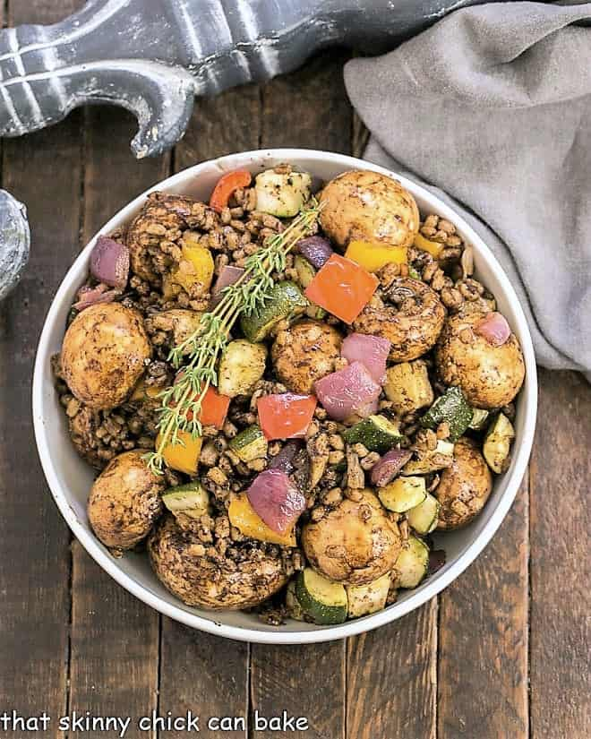 Overhead view of Farro Salad with Roasted Vegetables