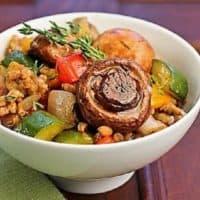 Bowl of farro salad on a green napkin