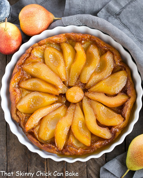 Pear Tarte Tatin viewed from above