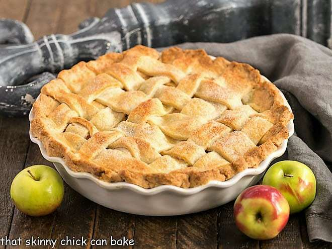 Perfect apple pie from scratch in a white pie plate