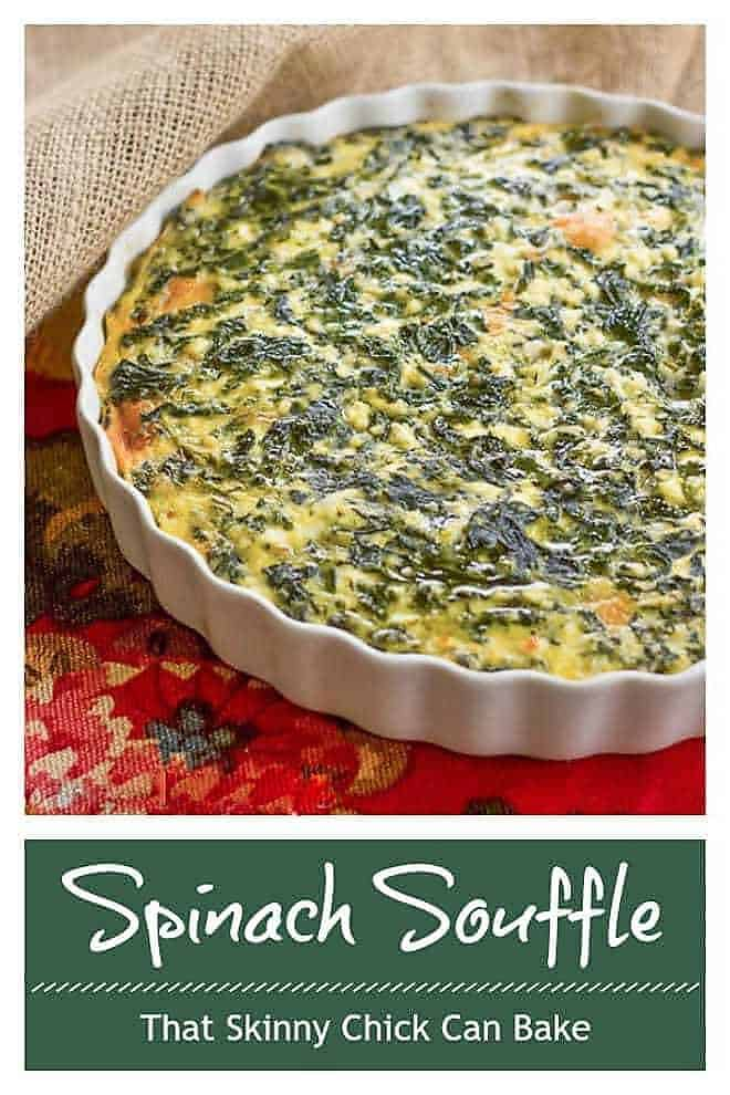 Cheesy Spinach Souffle in a white casserole dish