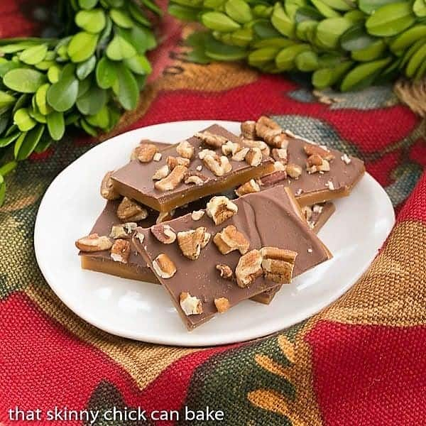 Classic English Toffee on an oval white plate