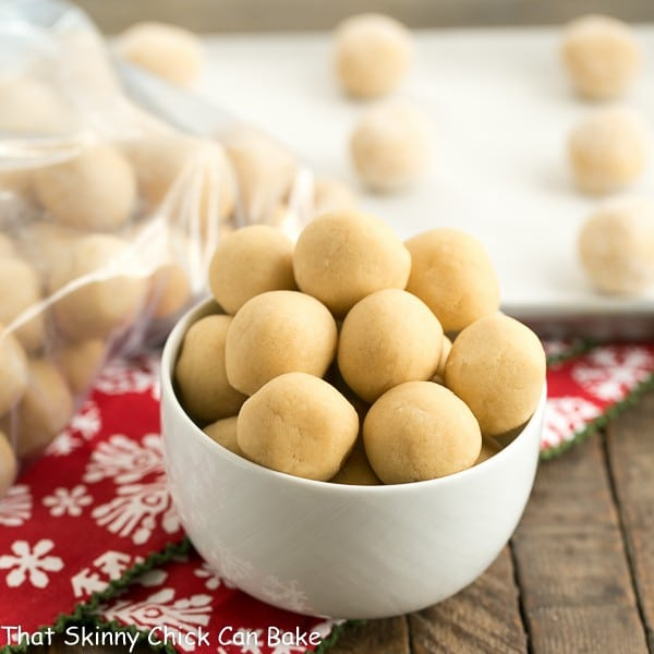 A bowl of cookie dough balls showing how to freeze cookie dough