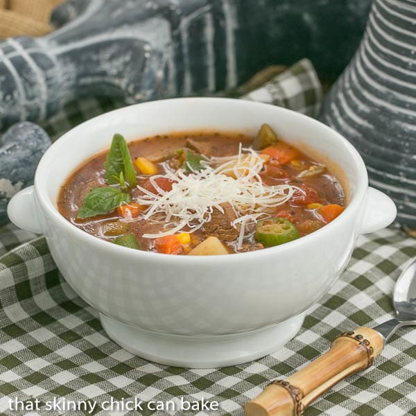 Vegetable Beef Soup   A healthy soup chock full of vegetables and lean beef