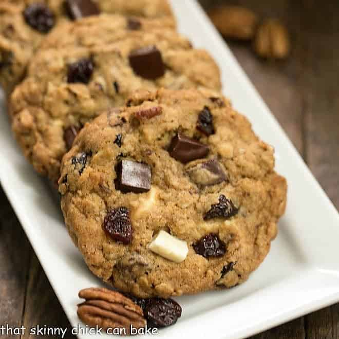 Chewy Oatmeal Cookies with Chocolate Chunks, Pecans, and Dried Cherries