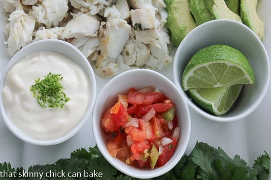 Grilled Fish Tacos condiments
