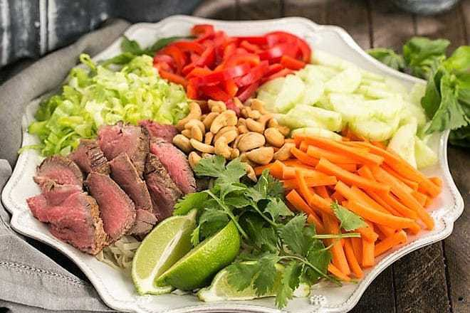 Vietnamese Beef Noodle Bowl arranged on a ceramic plate