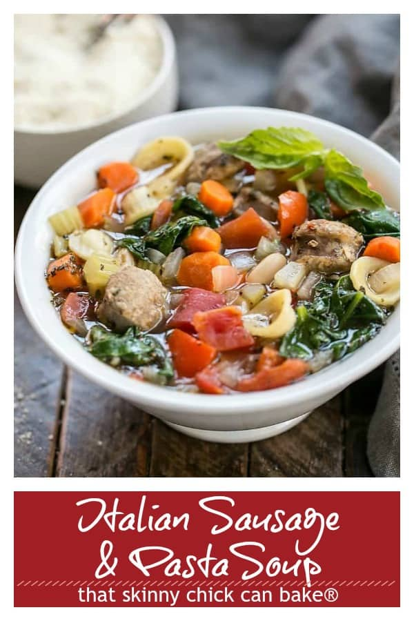 Italian Sausage and Pasta Soup pinterest photo and text collage