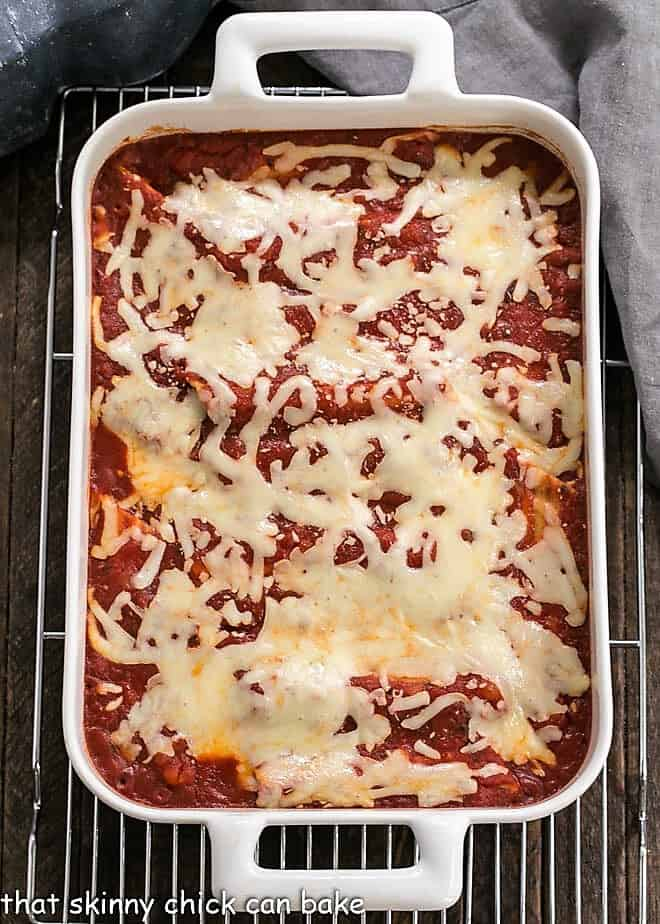 Overhead view of 3 cheese manicotti in a casserole dish
