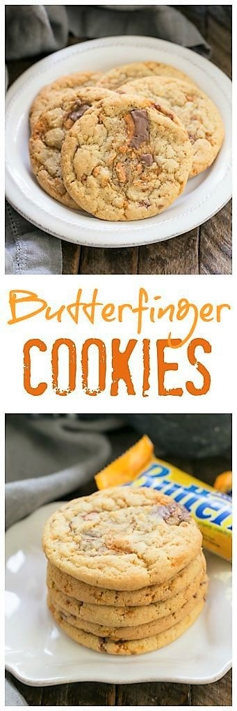 Chewy Butterfinger Cookies pinterest photo collage