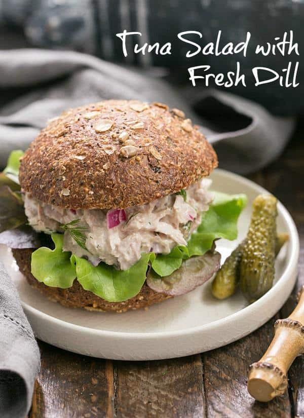 Easy Tuna Salad with Fresh Dill - a simple way to shake up your tuna salad with herbs, pickled onion and a squeeze of lemon #tuna #tunasalad #tunasandwich