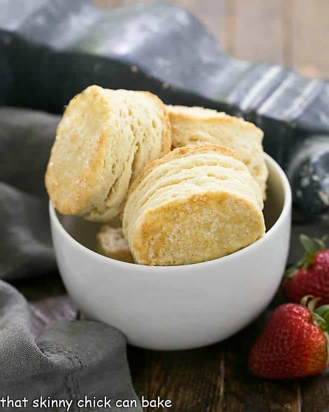 Bowl of flaky shortcake biscuits