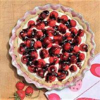 Cream Cheese Strawberry Pie in a decorative pie plate
