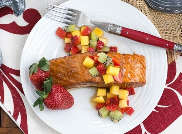 Glazed Salmon with Fruit Salsa | Perfect entree cooked on the grill or in the oven