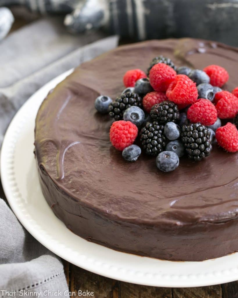Flourless Chocolate Cake with Ganache Topping | Uber rich and chocolaty and gluten free!