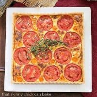 Tomato Gruyere Tart on a square white platter