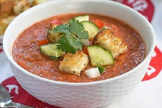 Classic Gazpacho with Homemade Croutons in a white ceramic bowl
