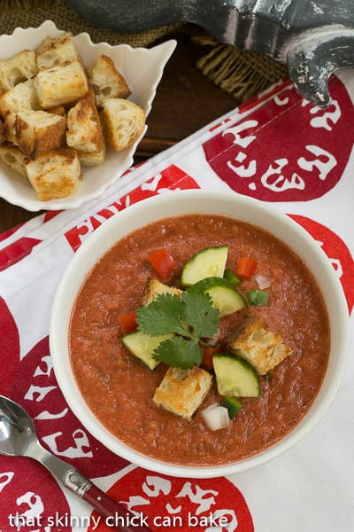 Classic Gazpacho with Homemade Croutons | A chilled Spanish tomato soup topped with diced vegetables and homemade croutons