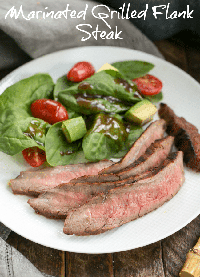 Red Wine, Soy, Balsamic Marinated Flank Steak - Loads of flavor infused into every bite! A family favorite. #flanksteakrecipe #flanksteakmarinade #grilledbeef