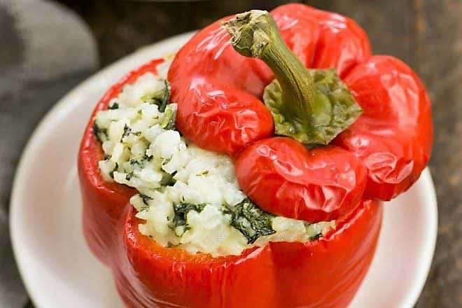 Rice Packed Peppers on a white ceramic plate