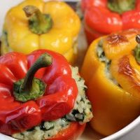 Dorie Greenspan's cheesy rice packed peppers