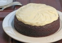 One layer chocolate cake topped with cream cheese icing