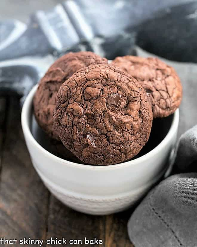 Black Gold Cookies in a small white bowl