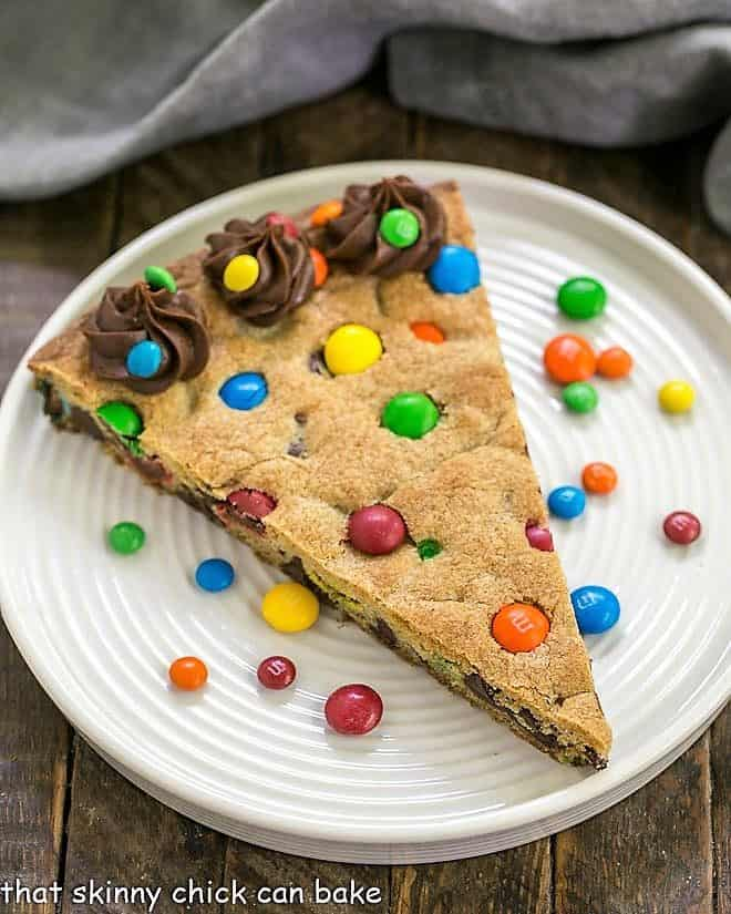Overhead view of chocolate chip cookie cake